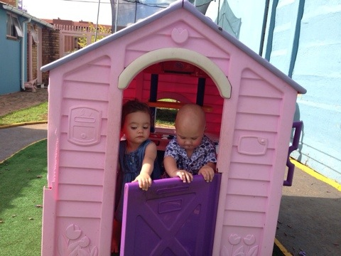 Playing in the doll house